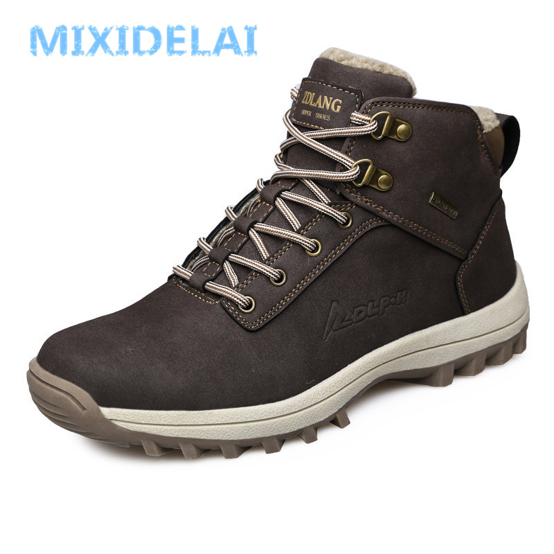 MIXIDELAI Brand New Fashion Pu Leather Men Boots Comfortable Men Shoes Ankle Boots Short Plush Winter Warm Shoes Men Size 39~46
