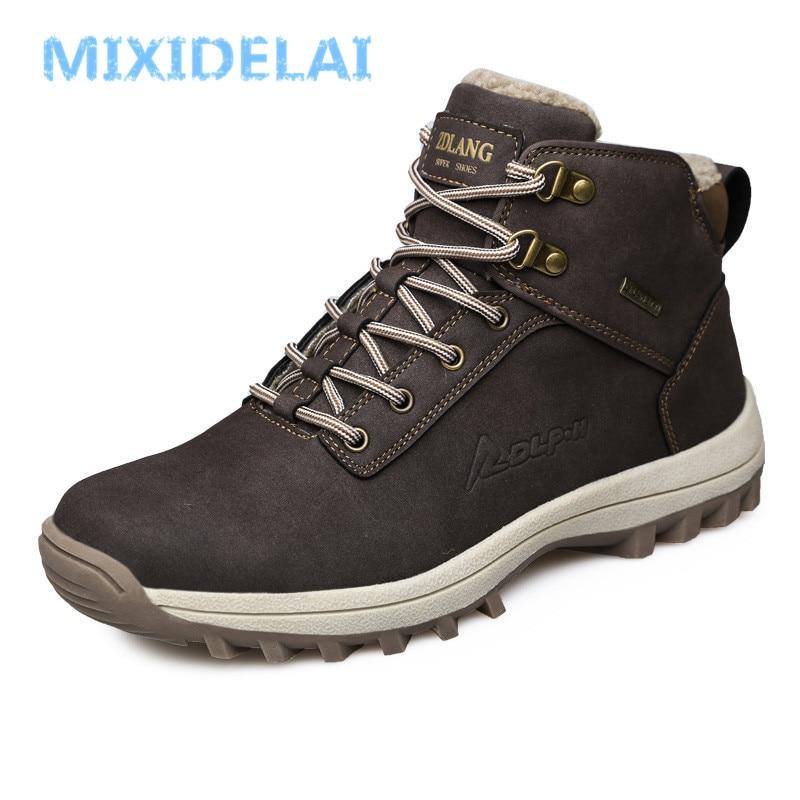 MIXIDELAI tout nouveau mode Pu cuir hommes bottes hommes confortables chaussures bottines courtes en peluche hiver chaud chaussures hommes taille 39 ~ 46