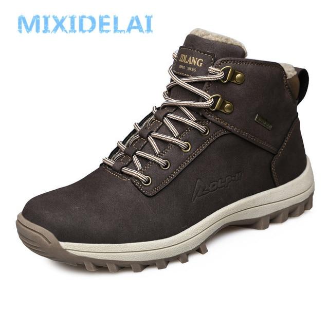 MIXIDELAI/Новинка; модные мужские ботинки из искусственной кожи; удобная мужская обувь; ботильоны; короткая плюшевая зимняя теплая обувь для мужчин; размеры 39-46