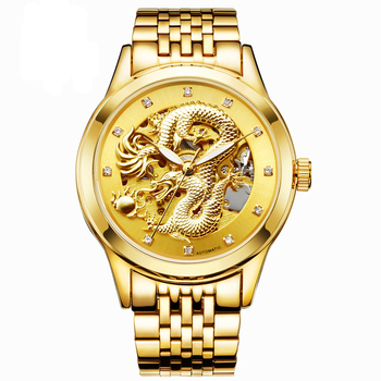 цена на Fngeen Gold Dragon Automatic Mechanical Watch Casual Men Watches Stainless Steel Top Brand Luxury Business Fashion Watch Men