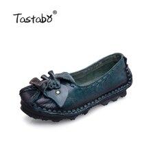 Tastabo Мода 2017 г. женские лоферы ручной работы птица обувь женская обувь из натуральной кожи мягкие туфли на плоской подошве для повседневной носки Женские туфли-лодочки Большие размеры 11