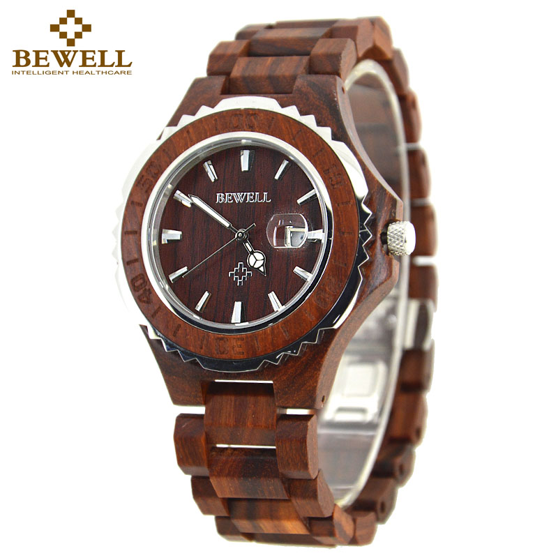 BEWELL Wood Watch Men Analog Display Date Relogio Masculino Quartz  Mens Watches Top Brand Luxury Waterproof Wristwatch 100BG wood watch luxury brand wood watch women analog natural quartz movement diamond small size wristwatches clock relogio masculino