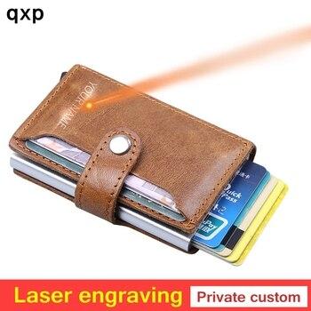 цена на Men Blocking Rfid Wallet Mini 100% Genuine Leather Business Aluminium Credit Card Holder Purse Automatic Pop Up Card Case