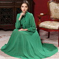 2017 Women Long Sleeve Elegant Green Expansion Bottom Bow Chiffon Rope Muslim Dress Femme Turkish Burqas American Abaya Vestidos