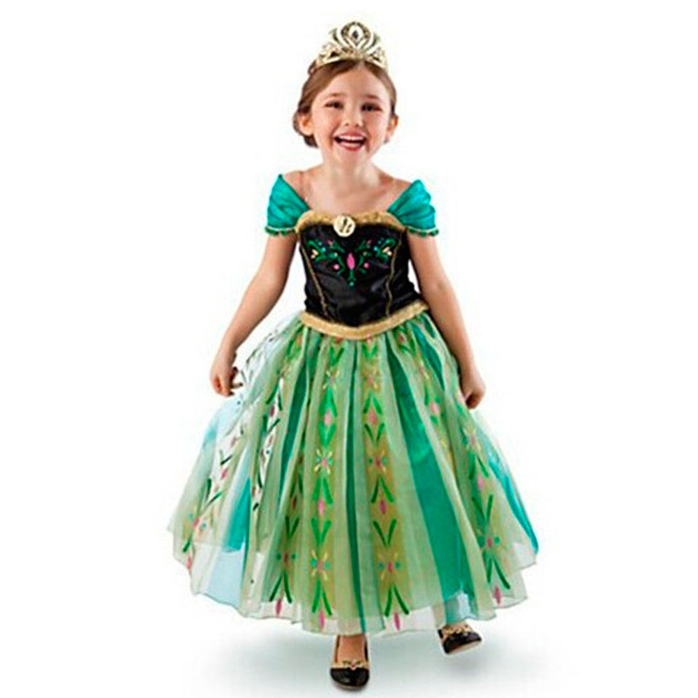 Disney Frozen Anna Princess Dress Children's Clothing Dress Princess Anna Cosplay Costume Girls Clothes Halloween Party Student