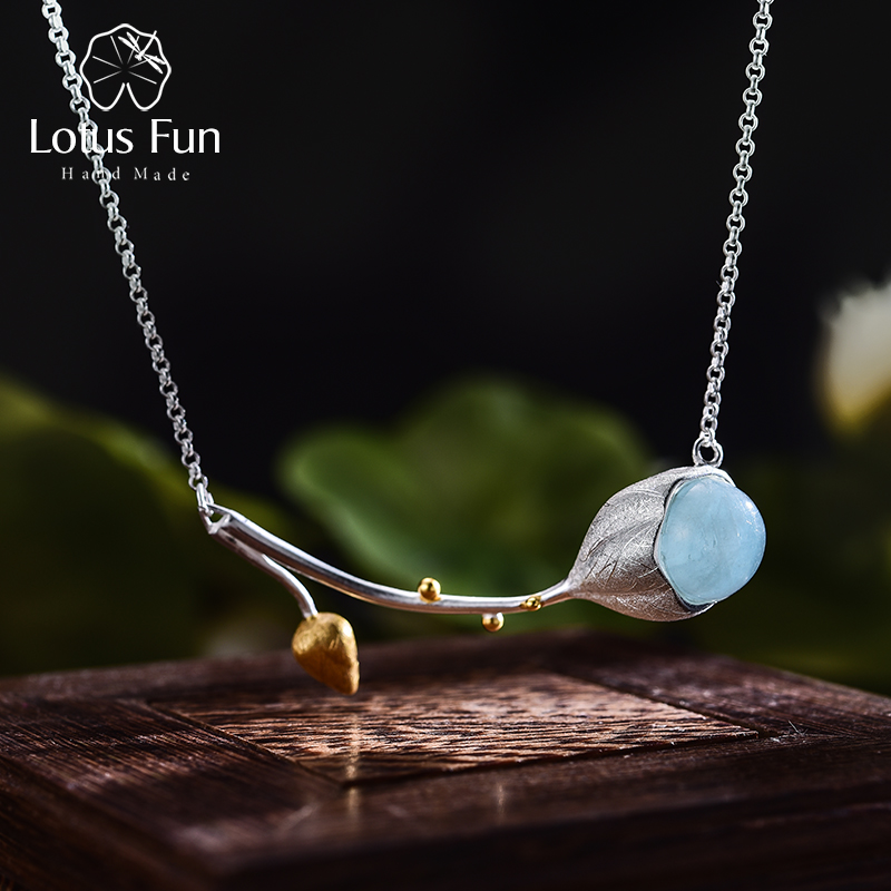 Lotus Fun Real 925 Sterling Silver Natural Stone Handmade Designer Fine Jewelry Elegant Lotus Buds Necklace