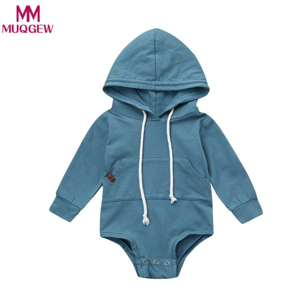 48eb4ec5d4d8 3-18M Newborn Infant Baby Boy Girl Autumn Clothes Solid Color Long Sleeve  Hooded Romper