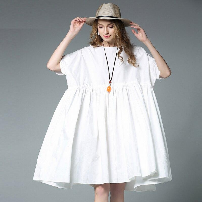 Women's Elegant dresses Plus size loose casual dress high waist crew neck short sleeve Pure cotton mid dress clearance sale