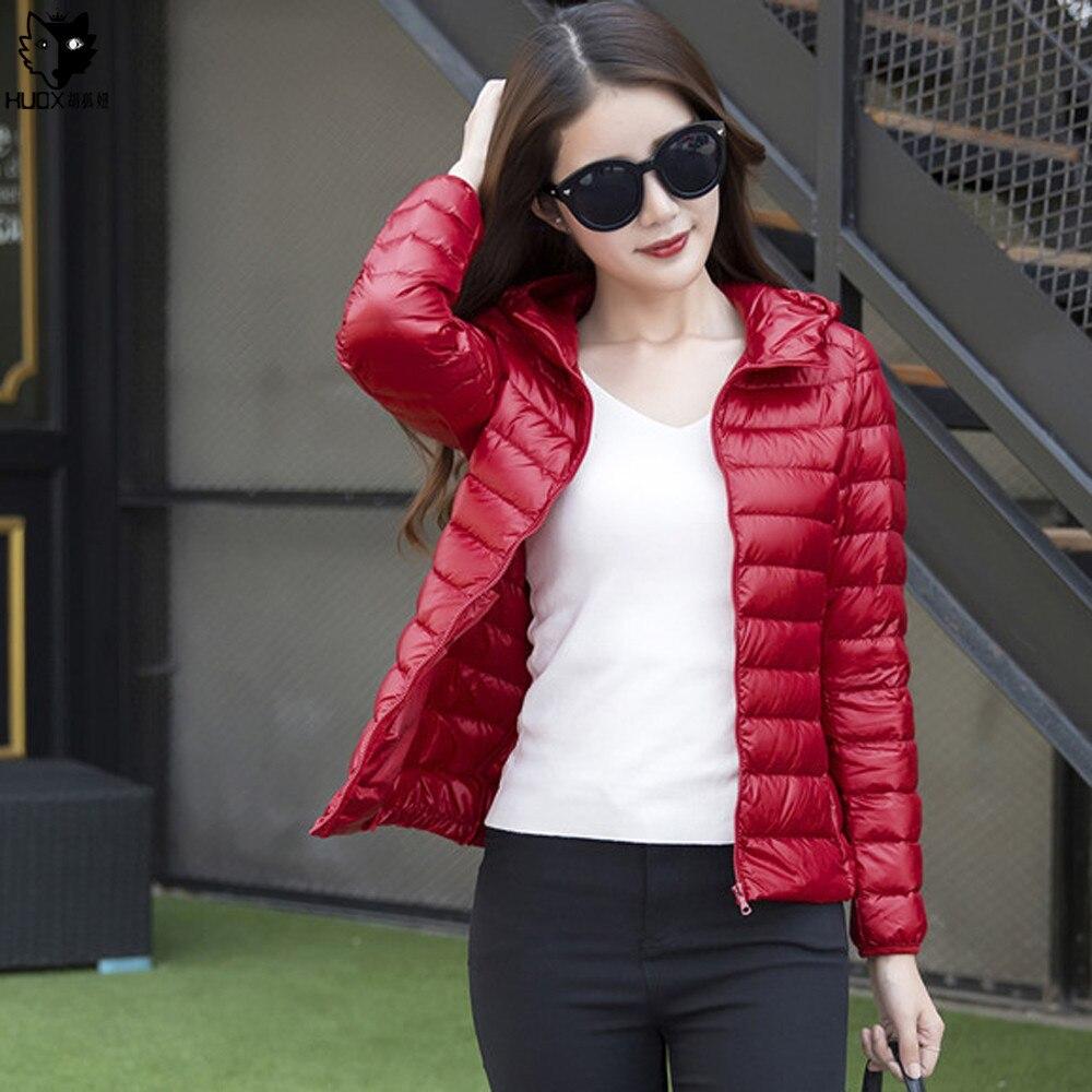 HUOX Düz Renk Kapüşonlu Ördek Aşağı Kadın Palto 2016 Sonbahar Kış Kısa Slim Mont Kore Tarzı Kadın Sıcak Aşağı Ceket