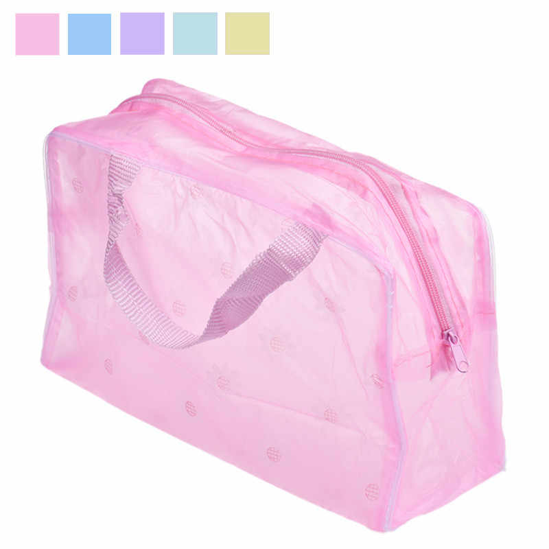 Transparent Women Make Up Bag Portable Canvas Makeup Bolso femenino Toiletry Travel Wash Toothbrush Pouch Organizer Bag