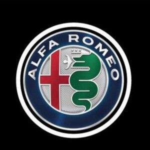 Image 3 - 2 قطعة موضة جديدة LED باب السيارة ترحيب ضوء شعار العارض ل ألفا روميو جوليا جيوليتا ميتو Stelvio بريرا 147 156 159