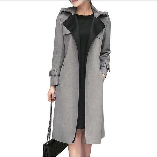 2018 New Fashion Autumn And Winter Women Faux Suede Trench Coat Ladies Slim Belt Windbreaker Women Plus Size Outerwear AE1506