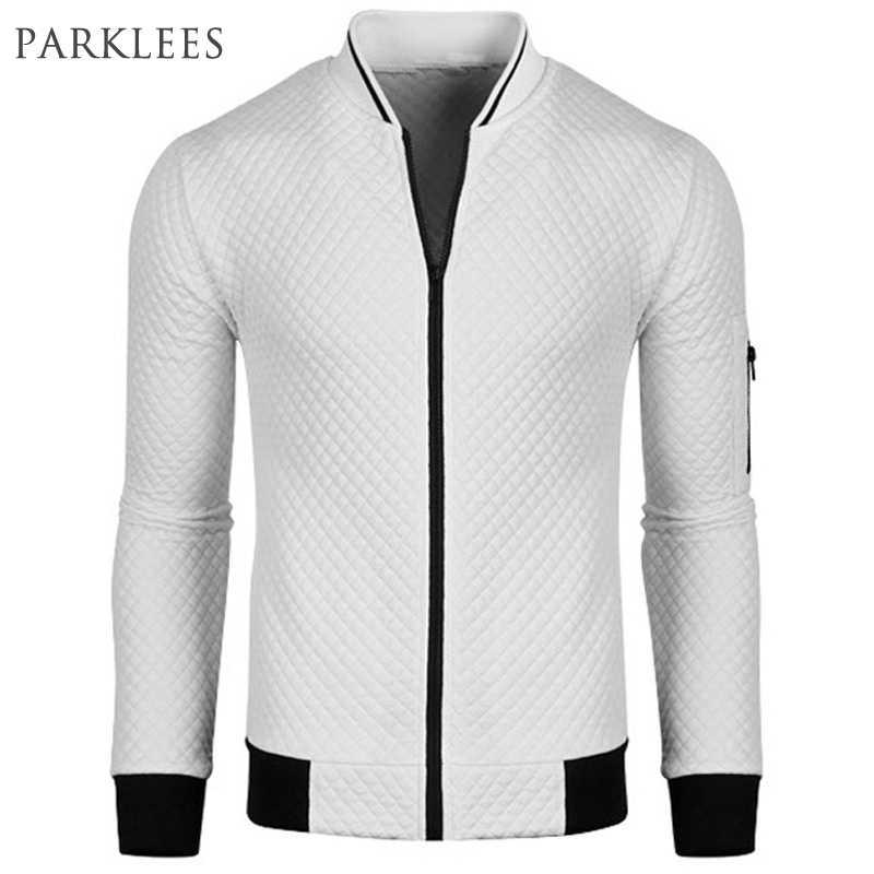 Yeni beyaz bombacı ceket erkekler Blouson Homme 2016 erkek moda Pu deri kollu Splice Argyle fermuar beyzbol kolej ceketi Xxl