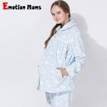 감정 엄마 겨울 출산 잠옷 모유 수유 잠옷 세트 임신 한 여성을위한 잠옷 정장 잠옷