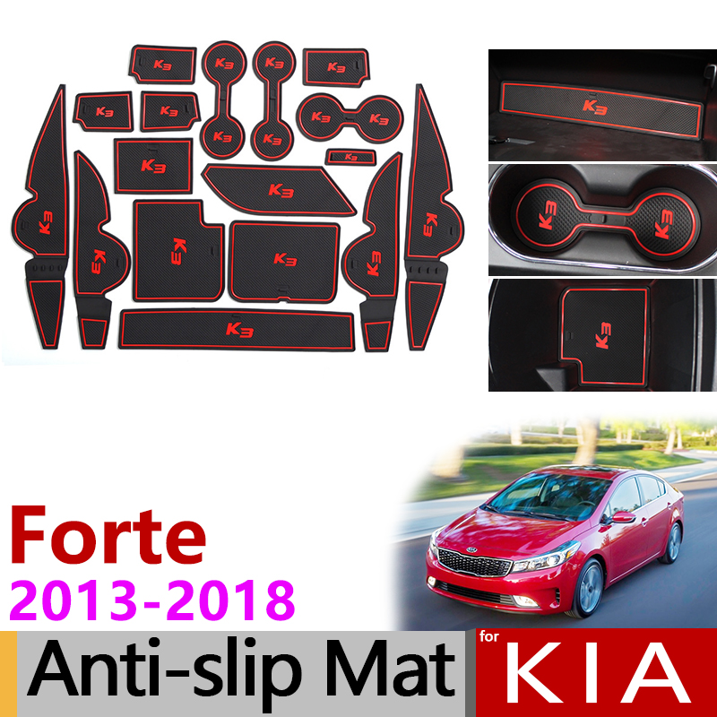 Anti-Slip Rubber Gate Slot Cup Mats for KIA Forte YD 2013 2014 2015 2016 2017 2018 K3 Cerato Accessories Stickers Car Styling коврик для приборной панели авто 11 kia forte cerato k3 bngy 12