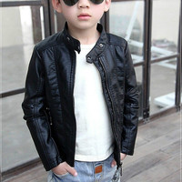 Boys Faux leather Jackets Korean version Warmed for Winter coats Kids clothes Flannel Lining Children PU leather jackets
