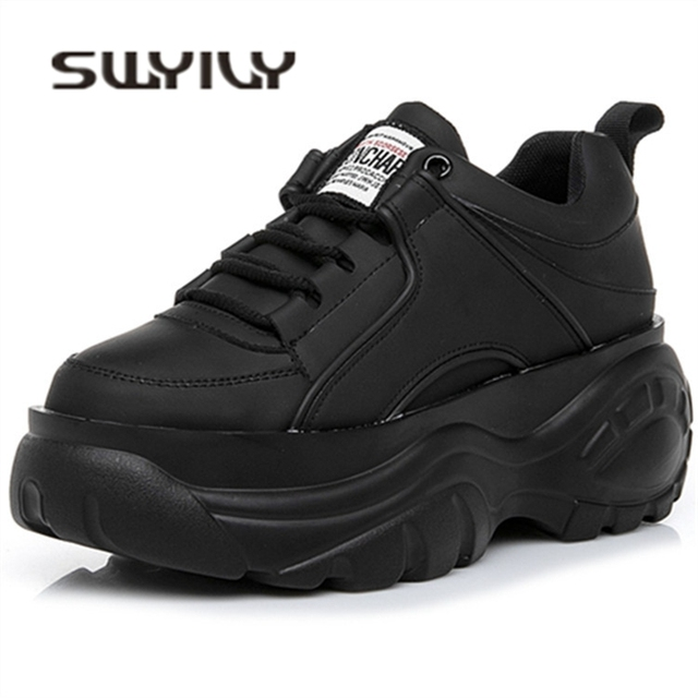 5dc05a7c2 SWYIVY Shoes Woman High Platform Sneakers 2019 Spring Female Shoes Casaul  Black White Sneakers Breathable Zapatos