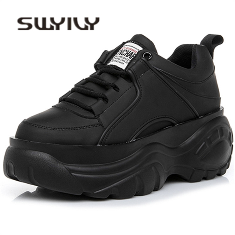 SWYIVY Casaul Shoes Woman High Platform Sneakers Women New 2020 Spring Female Shoes Black White Sneakers For Women Breathable 40
