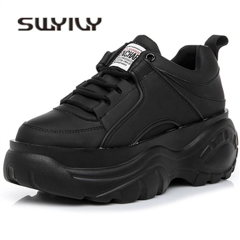 SWYIVY chaussures femme haute plate-forme baskets 2019 printemps femme chaussures Casaul noir blanc baskets respirant Zapatos décontracté Mujer