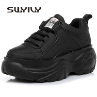 SWYIVY Shoes Woman High Platform Sneakers 2019 Spring Female Shoes Casaul Black White Sneakers Breathable Zapatos Casual Mujer