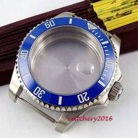 43mm azul cerâmica moldura de vidro safira data caber 8205 8215 821a 2836 movimento assista caso