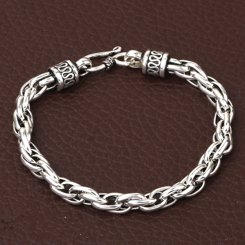 Simple Link Chain Solid Silver 925 Bracelet Men 100% Pure 925 Sterling Silver 925 Oxidation Treatment Brief Style Mens Jewelry 8mm solid pure sterling silver 925 mens chain bracelet simple cool style thai silver mens jewelry polished link chain free box