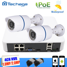 Techage 4CH 1080 P POE NVR Kit 2 unids 720 P/1080 P IP P2P Cámara de Interior Al Aire Libre A Prueba de agua inicio de Seguridad CCTV Sistema de Vigilancia Kit