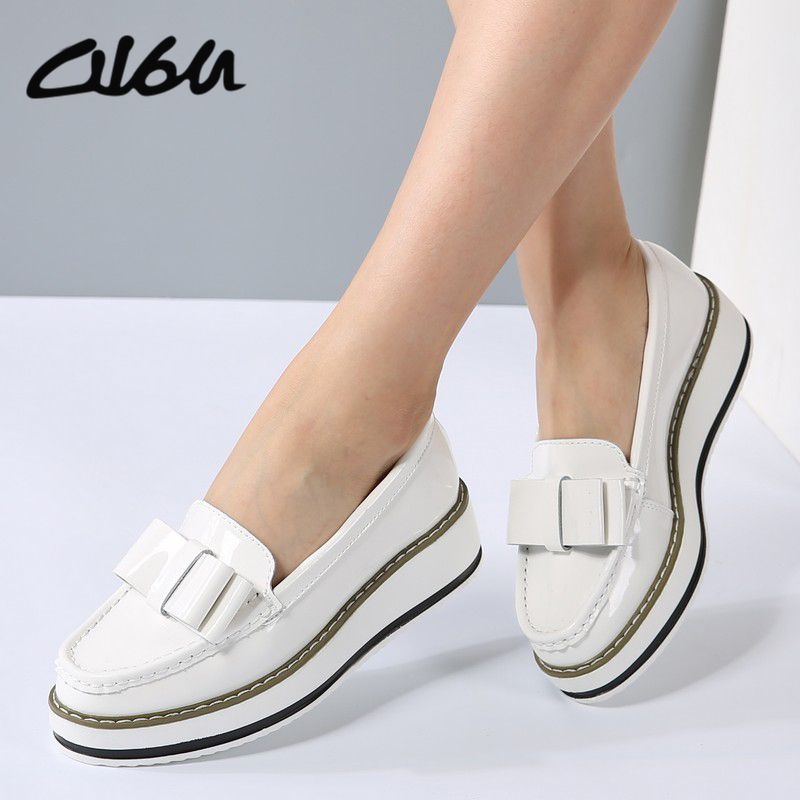 NEW women Casual shoes Bowtie ballerina flats Patent Leather slip on wedge platform loafers pointed toe