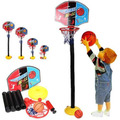 Kids Toddler Baby Children Sports Train Portable Adjustable Basketball Hoop Toy Set Stand Ball Backboard