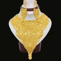 2017 Новый Высокое Качество Дубай Ожерелье Серьги Комплект Ювелирных Изделий Для Женщин Золотой Цвет Набор Элегантный Арабские Африка Свадь