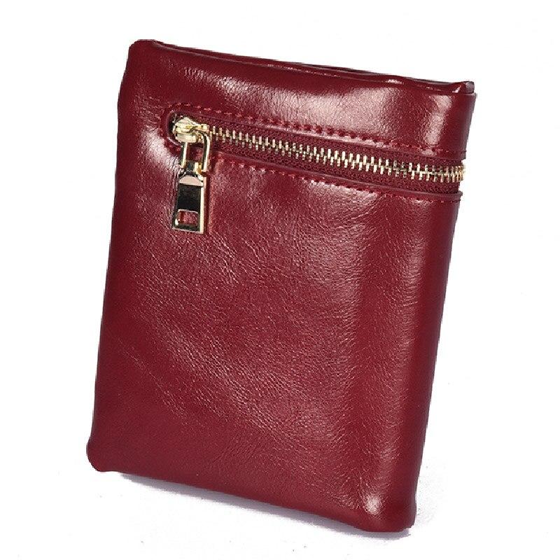 2018 Hohe Qualität Echtes Leder Frauen Mini Brieftasche Öl Wachs Leder Geldbörse Münze Kreditkarte Halter Mit Metall Ring Geldbörse Elegant Und Anmutig