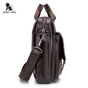 Image 4 - LAOSHIZI LUOSEN Genuine Leather Mens Briefcase Business Computer Bag Fashion Messenger Bags Man Shoulder Bag Male Handbags