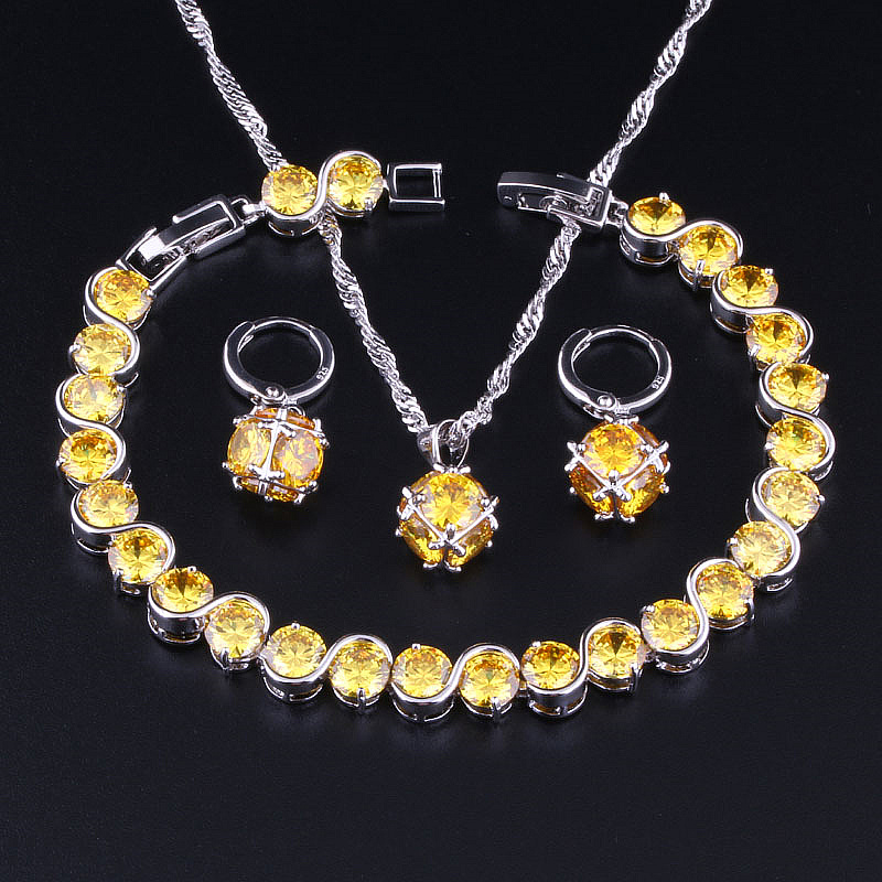Love Monologue New Yellow Crystal Cubic Zirconia Silver Gold Color Necklace Pendant Earrings Bracelets 4PCS Jewelry Sets X0348
