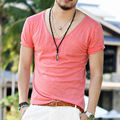 Men's Exclusive Pretty Tops V Neck Shorts Sleeve T Shirts Stunning Cut Off Border 2016 New Summer Style #Q001