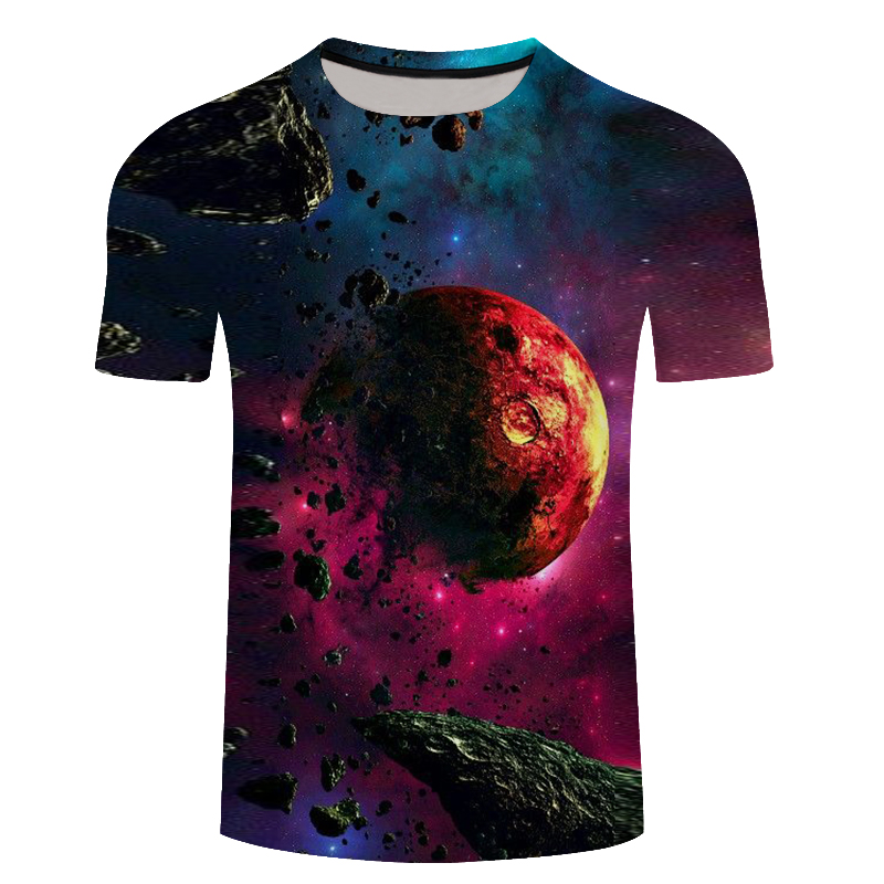 Galaxy 3D T-shirt Men Clothes 2018 Red Blue Space 3D Print Summer Tee Shirts Male Tops New Design Plus Size 6XL
