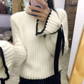 2016 autumn winter vintage green white ruffle bandage butterfly loose oversize wool mohair knitted pullovers turtleneck sweaters