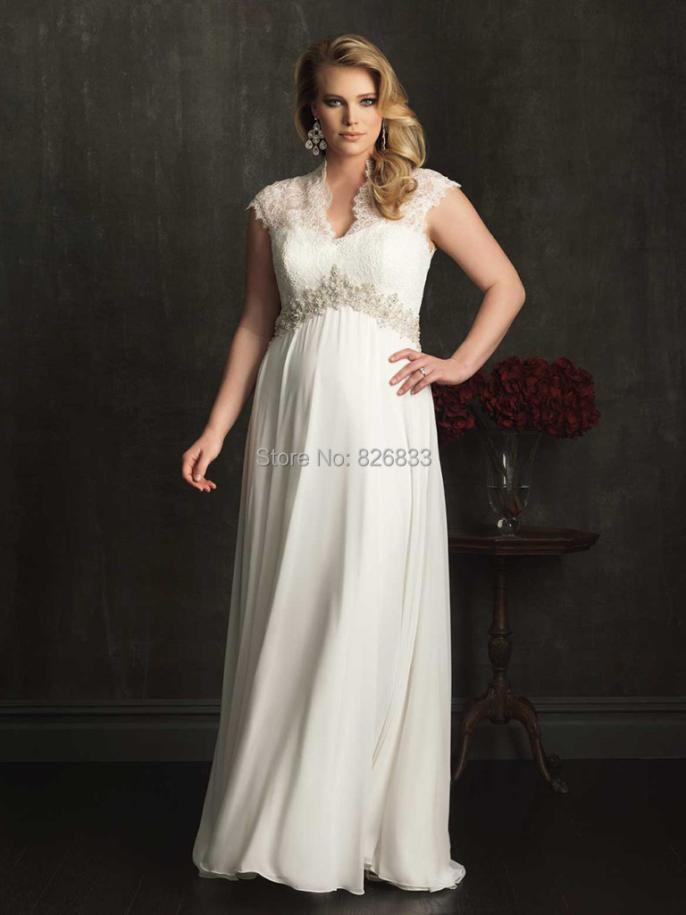 Cap sleeve wedding dress picture more detailed picture about vintage cap sleeves covered back ivory chiffon plus size maternity wedding dress for pregnant women 2015 ombrellifo Image collections