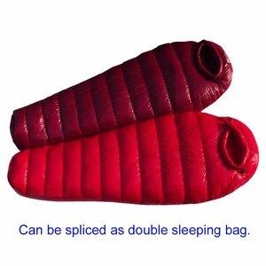 Image 4 - Ultraleve pato para baixo saco de dormir inverno à prova dwaterproof água múmia saco de dormir quente acampamento ao ar livre caminhadas saco de dormir