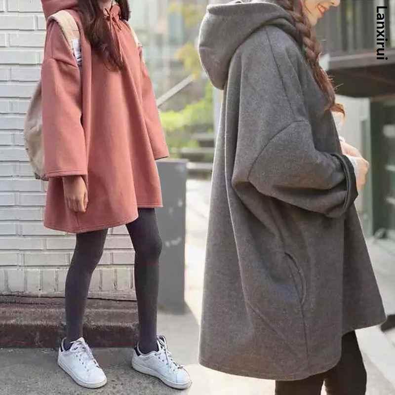 패션 새로운 여성 하라주쿠 스타일 느슨한 후드 여성 긴 단색 후드 탑스 여성 Bf 한국 여성 풀오버 학생