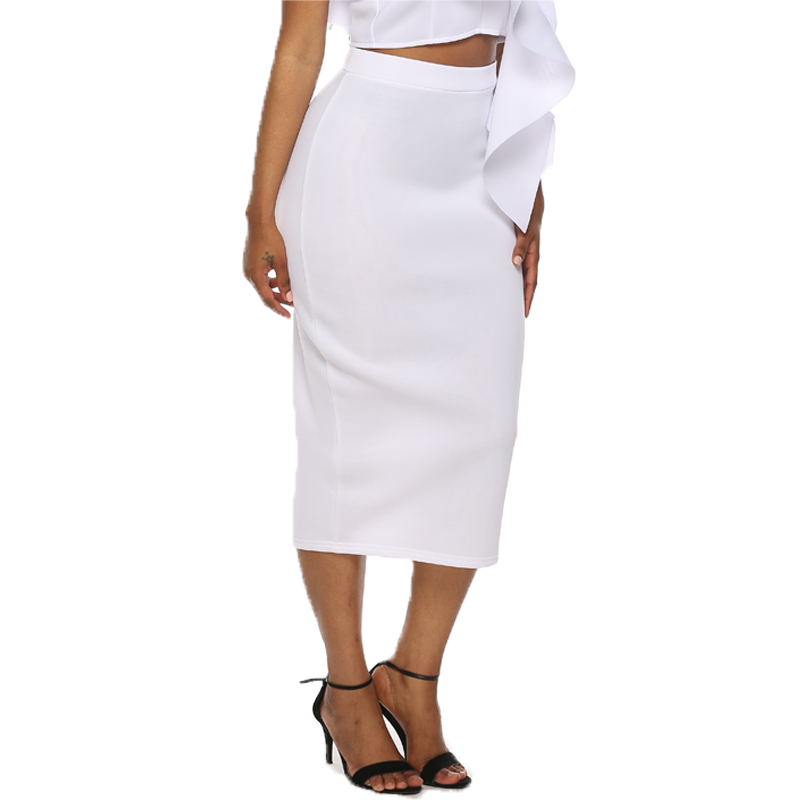 Slim White Women Pencil Skirt Elastic High Waist Mid-calf Sheath Bodycon Jupes Ladies All Match Classy Falads Plus Size Skirts