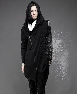 Image 2 - Uomini di personalità sottile cerniera inclinato con cappuccio mantello discoteca streetwear felpe con cappuccio mens gotico stile hip hop felpa cappotto lungo