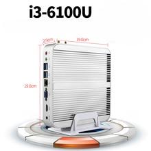 Core i3 6100U Skylake 14NM i3 безвентиляторный мини-пк с VGA и HDMI HTPC HD520 Графика 4 К HD Поддержка windows 7/8/8.1/linux
