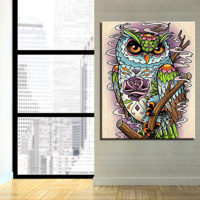 Diy painting acrylic on canvas kits drawing owl animals by numbers diy painting acrylic on canvas kits drawing owl animals by numbers framework wedding decoration wall artwork junglespirit Gallery