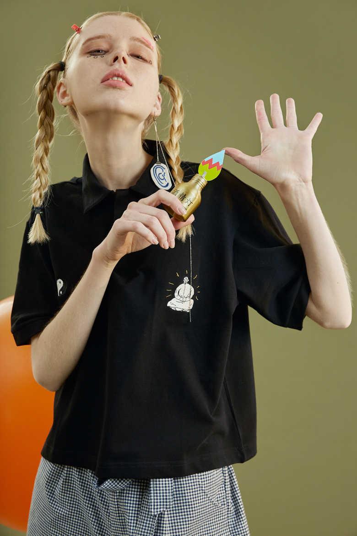 夏新シャツかわいい漫画刺繍黒人女性半袖ルーズファッション Tシャツ