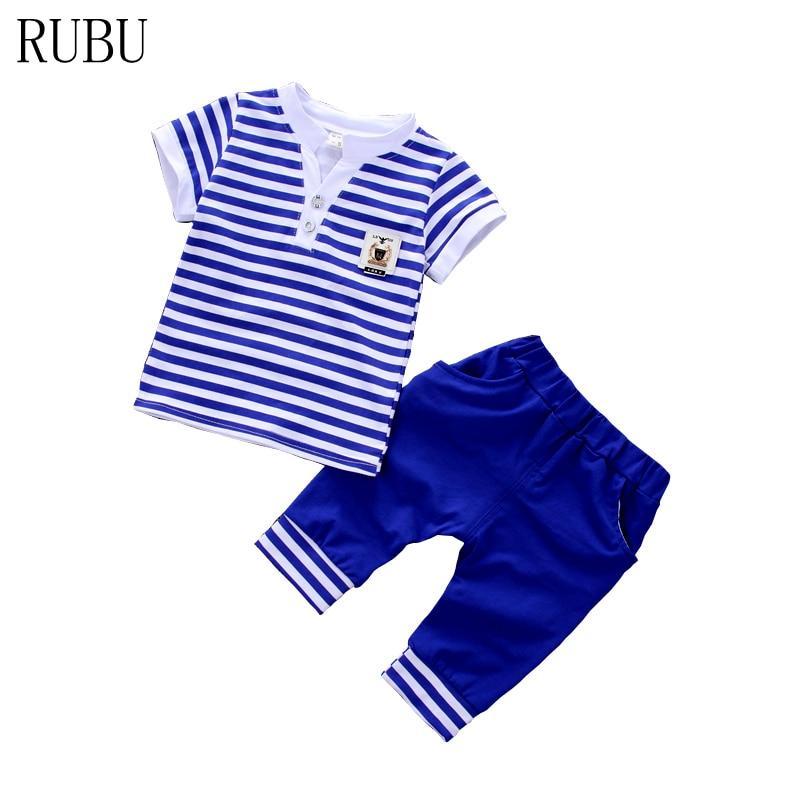 2018 Top Mode Plein Géométrique O-cou Régulier D'été Nouvelle Mode Bébé Garçons Vêtements Set Coton Matériel Avec Infantile Vêtements