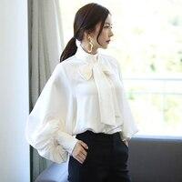 Kadın bağbozumu yay boyun fener kol manşet düğmesi OL bluz katı 2018 lady moda gömlek femme blusa blusa moda üst characte