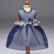 baby girl dress Elegant Plaid Pattern Girls Party Dress Prom Ball Gown Belt Appliques Fluffy Round neck flowers