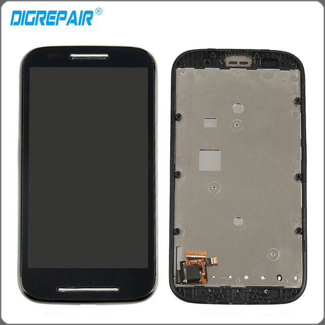 Black For Motorola E XT1021 XT1022 XT1025 LCD Display Touch Screen Digitizer With Bezel Frame Full Assembly Free Shipping