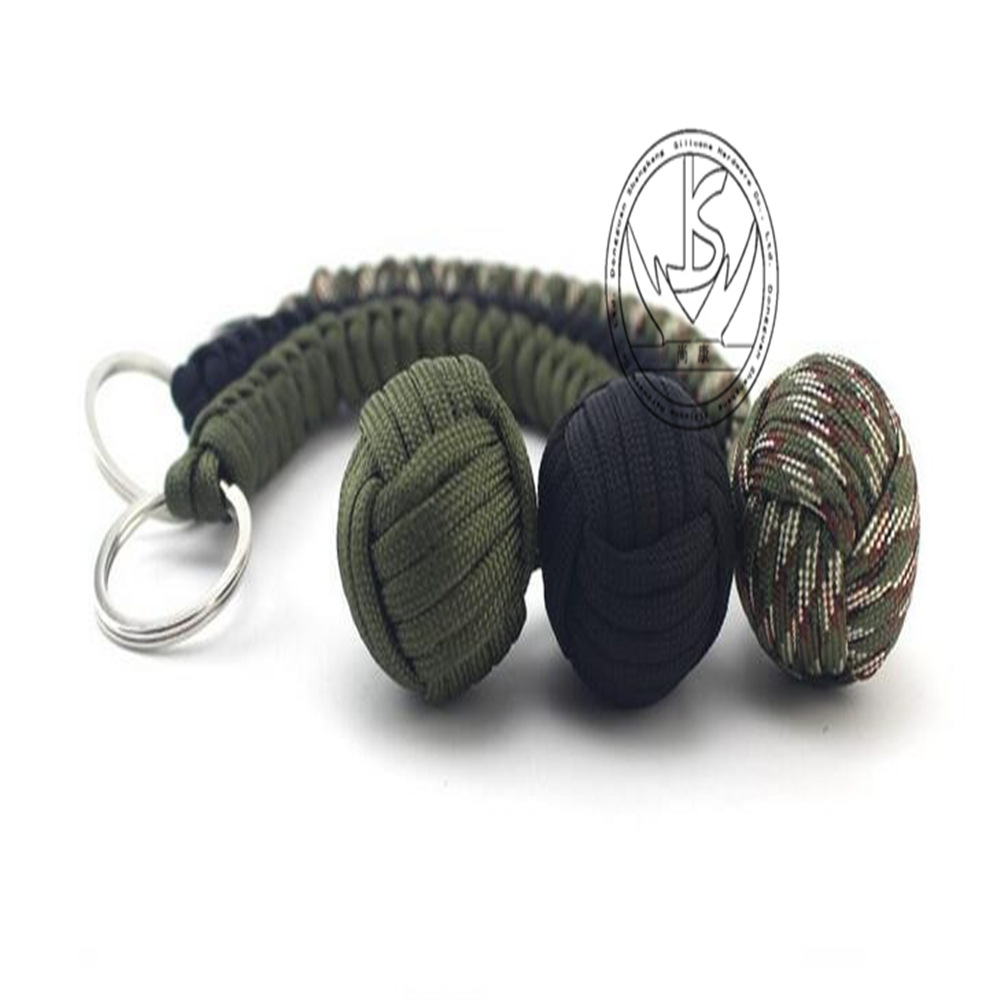 Strand Stainless Steel Ball Pendant Parachute Cord Keychain Key Ring Survival Kits Outdoor Climbing Camping Umbrella Rope