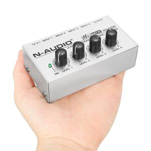 Image 4 - LEORY Professional 4 Channel Audio DJ Mixer Mini Sound Mixing Console Metal Silver Low Noise DJ Mezclador For Audio PC Home KTV